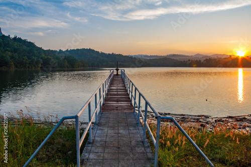 Plexiglas Thailand Sunrise over pier
