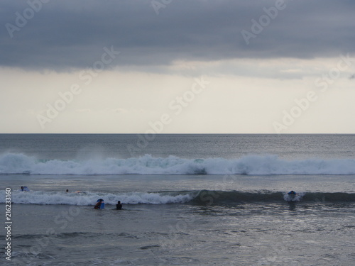 Foto Spatwand Bali Big Wave for surfing at Kuta Beach, Bali Island. Travel in Indonesia, 12th October 2012