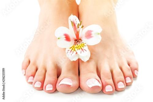 Leinwanddruck Bild Perfect hands on female feet