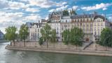 Paris, view of ile saint-louis and quai de Bethune, beautiful buildings and banks of the Seine in summer