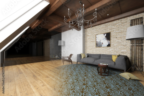 Wohnzimmer in der Mansarde (Gestaltung)