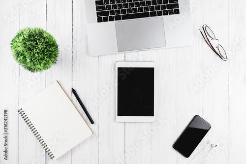Leinwandbild Motiv electronic device on workspace