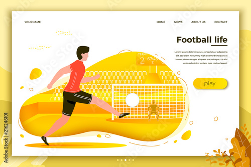 Vector illustration - football player. Goalkeeper and stadium with scoreboard on background. Banner, site, poster template with place for your text.