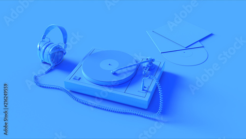 Blue Vintage Turntable Record Player with Headphones 3d illustration 3d render