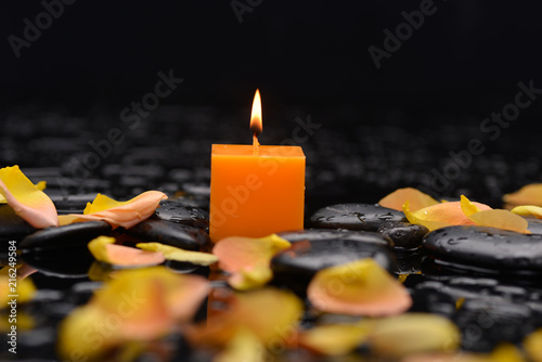 Plexiglas Spa Still life with candle , rose petals and therapy stones