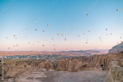 Aluminium Blauw sunrise Cappadocia hot air balloons Kapadokya Turkey