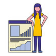 young woman and document with statistics graphic