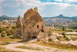 Cappadocia fairytale landscape with hills and cave houses,Kapadokya Turkey