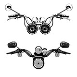 Set of vector images of motorcycle rudders.
