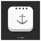 anchor icon Gray icon on Notepad Style template Vector EPS 10 Free Icon