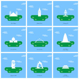 World Famous monuments and landmarks design with light blue background vector