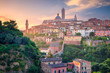 Leinwanddruck Bild - Siena. Cityscape aerial image of medieval city of Siena, Italy during sunrise.