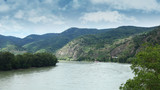 Wachau Valley Region in Austria With View At The River Danube, Vineyards and Mountains From Town Of Durnstein - 216276501
