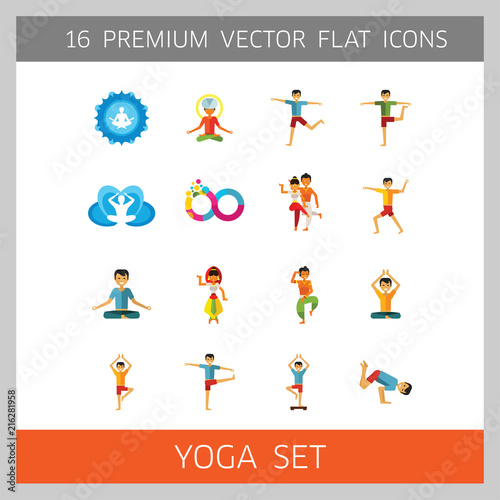 Fototapeta Yoga Icon Set. Infinity Meditation Handstand Virabhadrasana Lotus Position Yoga Sign Man Meditating Yogi Man Doing Yoga Man Doing Exercises Vrksasana Virabhadrasana Virasana