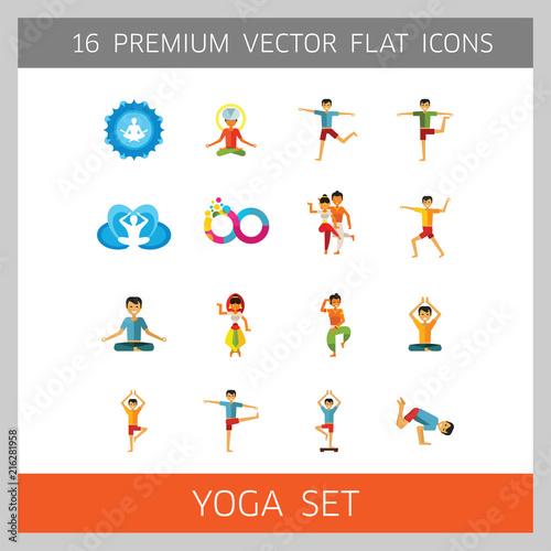 Obraz na płótnie Yoga Icon Set. Infinity Meditation Handstand Virabhadrasana Lotus Position Yoga Sign Man Meditating Yogi Man Doing Yoga Man Doing Exercises Vrksasana Virabhadrasana Virasana