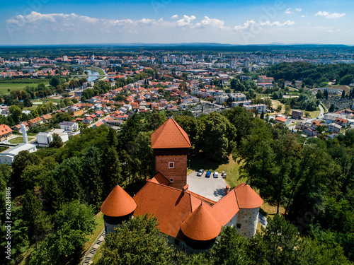 On a hill with a beautiful view of the town on four rivers, lies the Old Town of Dubovac, one of the most attractive and best preserved monuments of the feudal age. Aerial photo, drone. Karlovac