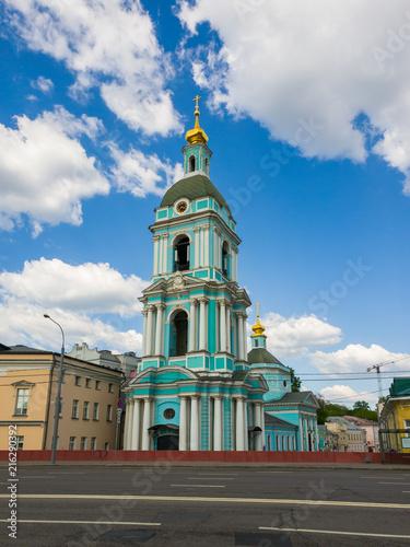 In de dag Moskou Church of Trinity in Serebrians in Moscow, Russia