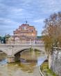 Quadro Tiber River and Saint Angel Castle, Rome, Italy