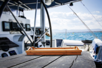 desk of free space for your decoration and yacht background.  © magdal3na