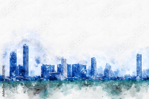 Abstract colorful building in the city on watercolor illustration painting background. - 216303766