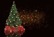 Decorated Christmas tree and gifts on  background