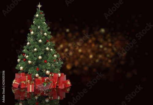 Foto Murales Decorated Christmas tree and gifts on  background