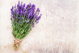 Lavender flowers, bouquet on rustic background, overhead. - 216313760