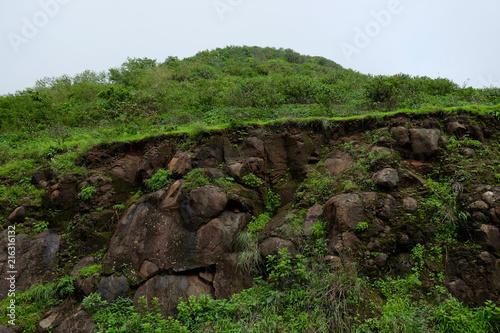 Fotobehang Grijze traf. Lush green monsoon nature landscape mountains, hills, Purandar, Pune, Maharashtra, India