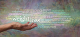 Words associated with Weight Loss Tag Cloud - female hand with palm open and the words WEIGHT LOSS above surrounded by a multi coloured word cloud on a rustic artistic modern background
