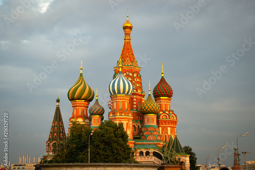 Canvas Moskou Saint Basil's Cathedral at sunset
