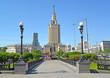 MOSCOW, RUSSIA. A view of Leningradskaya hotel through the square at Komsomolskaya Square