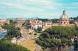 Quadro Aerial scenic view of Colosseum, Roman Forum in Rome and church of Santi Luca e Martina, Italy