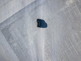 top above view of black car running on blank empty asphalt abstract conept with copy space