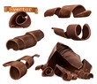 Chocolate shavings and pieces, 3d vector set