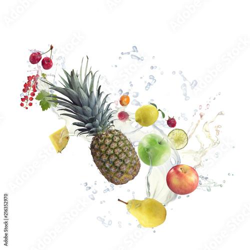 Foto Murales Healthy Food with water splash