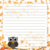 Page for notebook, diary or planners. Lined page with falling leaves and cute owl on the branch.