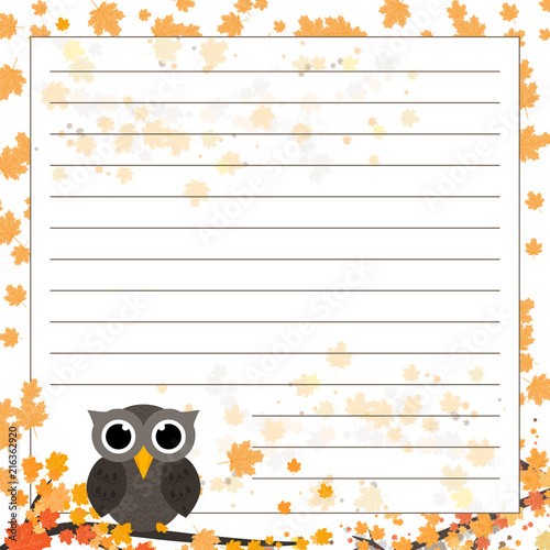 Fotobehang Uilen cartoon Page for notebook, diary or planners. Lined page with falling leaves and cute owl on the branch.