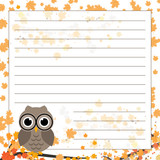 Page for notebook, diary or planners. Page with falling leaves and cute owl on the branch.