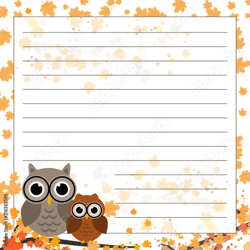 Fotobehang Uilen cartoon Page for notebook, diary or planners. Page with falling leaves and cute owl on the branch.