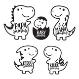 Cute dinosaur family cartoon character in black outlined vector illustration. © JungleOutThere