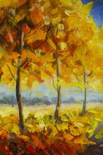 "Постер, картина, фотообои ""Gold orange autumn park forest trees fall leaf foliage landscape nature oil painting impressionism illustration on canvas"""