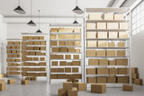 Warehouse shelves with cartboard boxes front view