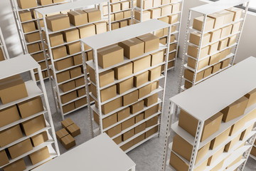 Warehouse shelves with cartboard boxes top view © denisismagilov