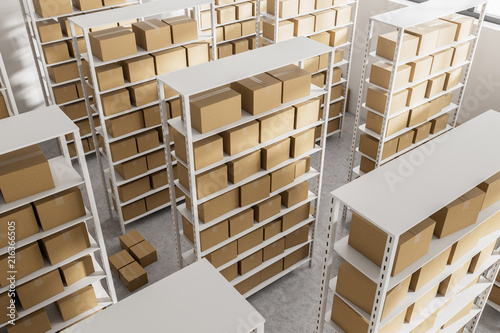 Warehouse shelves with cartboard boxes top view