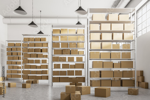 Zobacz obraz Warehouse shelves with cartboard boxes front view