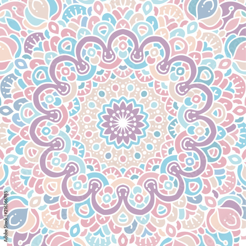 Vector round abstract background. Mandala style. - 216366985