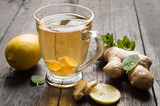ginger tea with mint and lemon - 216369311