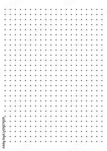 Fototapeta Dot Grid Paper graph paper 1 cm on A4 on white background vector illustration