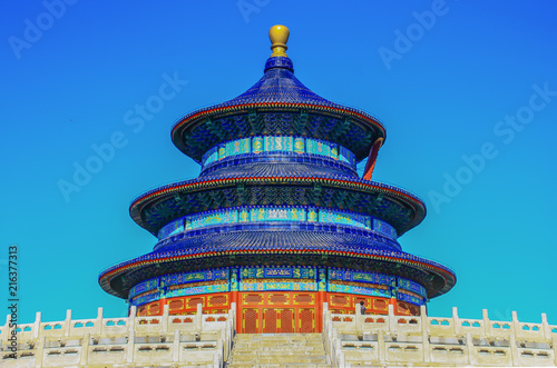Foto Spatwand Peking Beijing, China - built in the 15th Century, the Temple of Heaven stands in central Beijing, and it's one the 53 Unesco World Heritage Sites of China