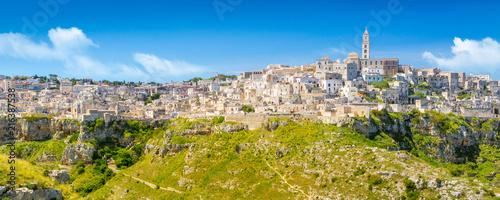 Panoramic view of ancient town of Matera (Sassi di Matera), Basilicata, southern Italy - 216387538